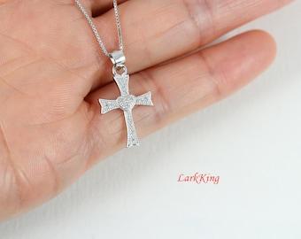 Sterling silver cross necklace, small cross necklace, cross heart necklace, silver cross charm, tiny cross necklace, cross jewelry, NE8215
