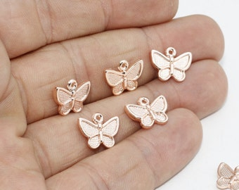 10 Pcs 10x12mm Rose Gold Angel Charms, Angel Pendant, Angel Jewelry, Angel Necklace, ROSE430