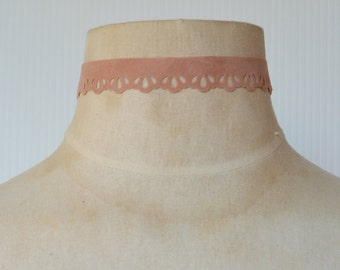 Old Rose Pink Suede Lace Cut Out Choker