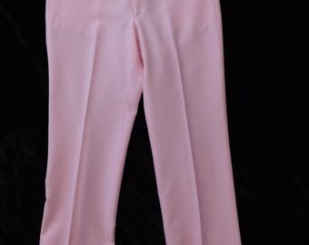"Men's Pink Pants/ 1970's Pink Golfing Pants/ Sansabelt Jaymar Pink Slacks/ 70s Pink Mens Trousers/ 1970s Pink Mens Pants/ 34"" Waist"