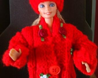 Barbie Dolls Clothes -  Jacket & Hat-  Handknitted