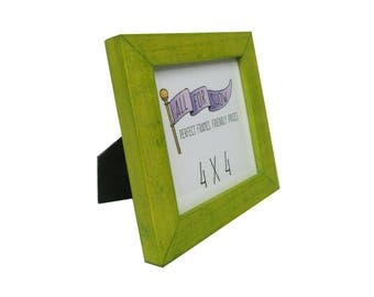 4x4 Frame, Pear Frame, 4x4 Picture Frame, Photo Frame, Yellow Picture Frame, 4x4 Photo Frame, Green Wood Frame, Square Frame,Instagram Frame