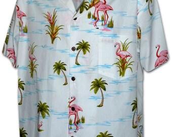 Flamingo Natural Paradise White Pacific Legend Hawaiian Aloha Shirt 410-3826