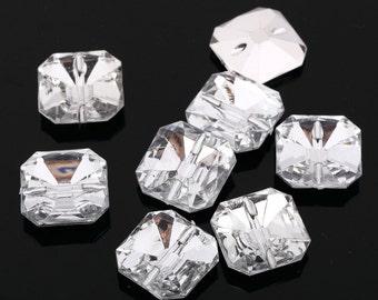 AB4 20pcs Sew on Diamante SQUARE BUTTONS Sparkle Acrylic Crystal Rhinestone