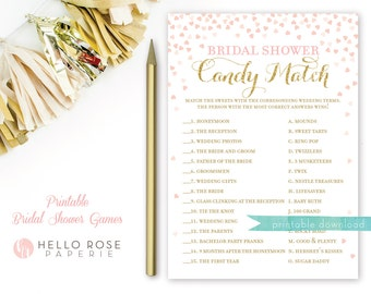 Bridal Shower Candy Match Game . Printable Instant Download . Pink and Gold . Gold Glitter . Digital Download . Bridal Shower Games