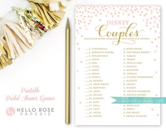 Pink and Gold Bridal Shower Games . Disney Couples Bridal Shower Game . Printable Instant Download . Gold Glitter Pink . Disney Theme Shower