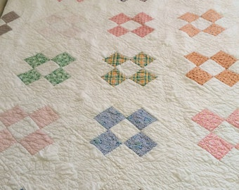 Lovely Traditional Nine-Patch in Vintage Fabrics - Feather Quilting = Simply Special!
