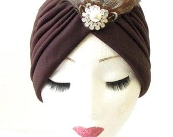 Brown Ivory Pheasant Feather Turban Headpiece 1940s WWII Cloche WW2 Hair 1157
