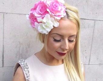 Light Pink Ivory Hydrangea Rose Flower Fascinator Races Headband Headpiece 2460