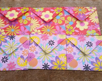 Girly envelopes, Floral envelopes, set of unique envelopes, patterned paper, pack of six square envelopes, decorative paper