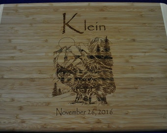 Christmas Gifts ~ Wolf Gifts ~ Custom Cutting Board ~ Wolves ~ Gifts For Wolf Lovers ~ Engraved Cutting Boards ~ Extra Large Cutting Board ~