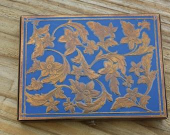 Rex Fifth Avenue Brass Flowers/Blue Rectangle Compact, Powder Puff & Sifter