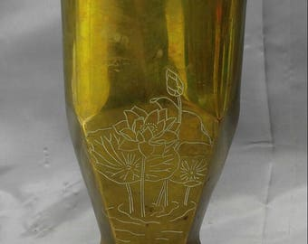 Old vintage 1942 WW2 mortar shell trench art vase handmade hand engraved with lotus flowers