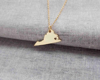 Gold State Necklace of Virginia With A Heart, VA State Charm Necklace ,State Shaped Pendant,Personalized Virginia State Necklace.