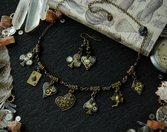Steampunk jewelry set, Alice in Wonderland, Present for her, For Girl, For Sister, Friend, Mother, Wife Bride OOAK