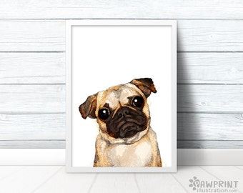 Cute pug print quirky art print dog painting, pug decor pug gifts for her, quirky gifts dog art print pug life pug poster