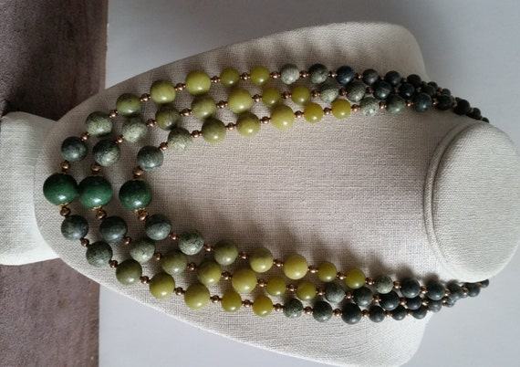 3-STRAND JADE and SERPENTINE Necklace. Graduated Round Stone Beads. Length 21-24 Inches. Multistrand Choker. Apple, Forest, Moss Green.