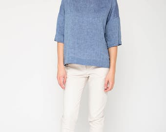 Boxy Top in Light Blue Linen / Blue Linen Tank Top / Blue Linen Blouse / Loose Fit Top / Wide Linen Top / Wide Linen Blouse /