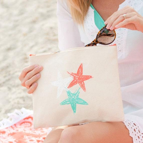 Monogrammed Makeup Bags Accessory Bags Bridesmaid Gifts Weddings Beach Weddings Starfish Makeup Bag Starfish Canvas Bags Highway12Designs