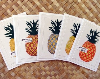 "Pineapple thank you cards ""you are so sweet"" (set of 5 cards)"