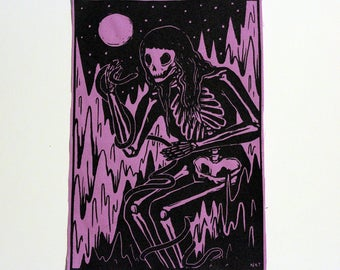 Skeleton and Snake screenprinted patch