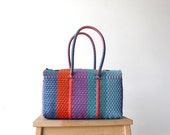 Colorful Woven Mexican Basket, Handwoven Mexican Bag, Picnic Basket, Mexican Gifts, Woven Bag, Gifts for her, MexiMexi Bag, Oaxaca Tote