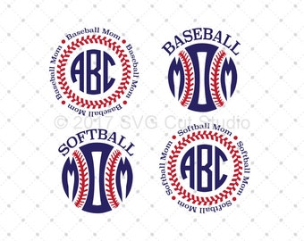 Baseball Mom SVG, Softball Mom SVG, Monogram Frames, Sport svg cut files for Cricut and Silhouette, svg files