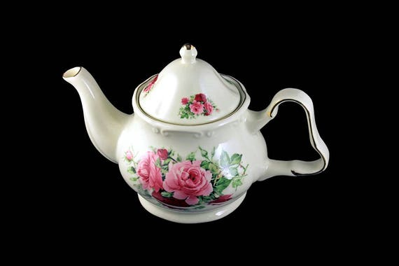 Teapot, Baum Bros, Formalities, 4 Cups, Pink Roses, Gold Trim