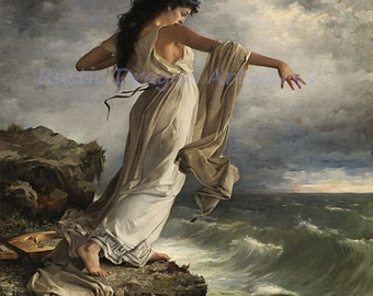 "Miquel Selva ""Sappho"" 1881 Reproduction Digital Print Vintage Decor Woman Standing on edge of a Cliff"
