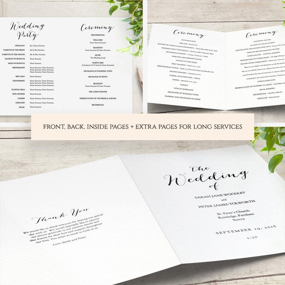 Booklet wedding program template church order of service for Multi page brochure template