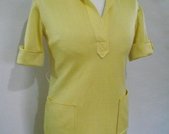 Vintage Butte Knit dress 70s lemon yellow dress shirt waister size small to medium