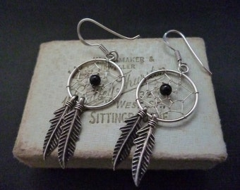 Unique sterling silver dream catcher earrings - 925 - 2 inch - Feathers