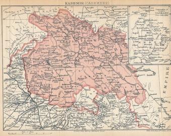 1909 Kashmir India Antique Map