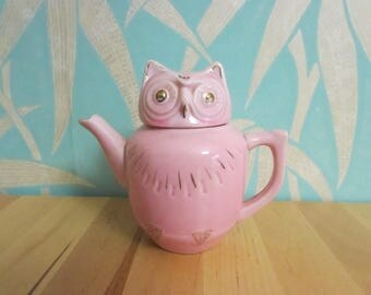 1960s/70s pink porcelain owl teapot with gold accents