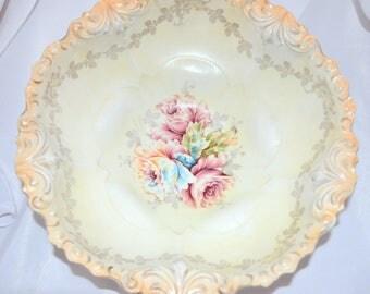 Antique RS Prussia Bowl German Porcelain Fleur De Lis Mold Satin Matte Finish Roses Peach Ground Art Nouveau Period Cottage Chic Decor