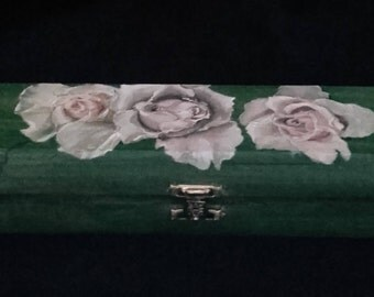 Handpainted Roses on a Slim Wooden Box