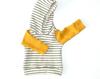color-block hoodie in mustard + natural stripe