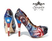 Defender of Freedom- Glitter Heels- Wedding- Geek- Bride- Prom- Gift- comic book- Christmas-superhero- America-Custom Shoes