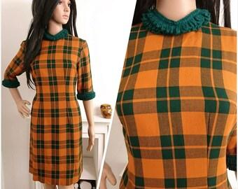Vintage 60s Green Orange Checked Ruffle Wool Shift Dress Mad Men / UK 12 / EU 40 / US 8