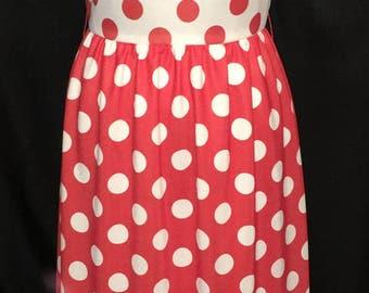 Vintage 1970's Red & White Polka Dot Polyester Sleeveless Maxi Dress 36