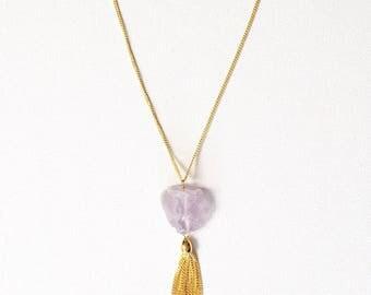 Melinda Neckalce, long crystal and tassel necklace