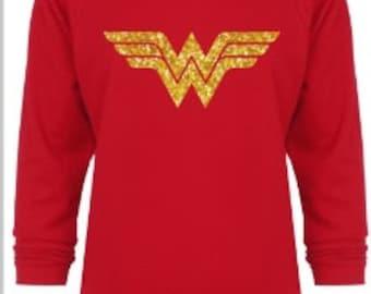 Wonder Woman Glitter Off Shoulder Super Hero Next Level DC Comics 3/4 Length Sleeves