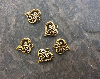 Filigree Heart Charms package of 5 with antique gold finish Double Sided heart charms scroll pattern in light gold or antique gold finish