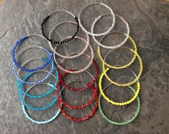 Beaded crystal Adjustable Bangle Bracelet Blanks in assorted NEW colors Back in Stock!