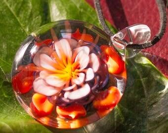 Art Glass Pendant - Mothers Day Flower Pendant - Glass Fireworks - Trippy Glass Pendant - Hand Blown Glass Lampwork Necklace Pendant