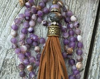 Matte Amethyst Tassel Necklace
