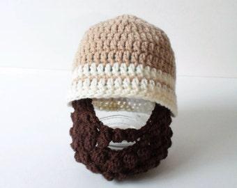 Beard Hat, Beard Beanie, Hat With Beard, Bobble Beard Hat, Lumber Jack Beard Hat, Woodsman Beard Hat, Detachable beard.