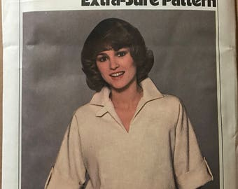 Simplicity 8510 - 1970s Extra Sure Pullover Dress with Blouson Bodice - Size 10 12 14