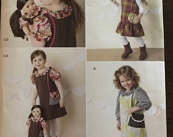 """Simplicity 1289 - Matching Girls and Dolls Dress Set  with Faux Purse Pocket - Size 3 4 5 6 7 8 Doll 18"""""""