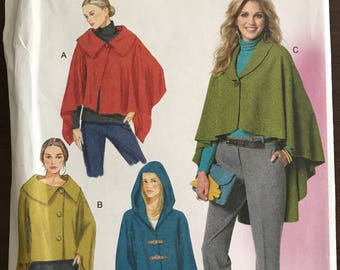 Butterick B5819 - Very Loose Fitting Wrap or Cape With Shawl or Wide Pointed Collar with Hood Option - Size L XL XXL